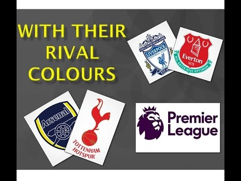 Premier League teams crest with their rival team's colours