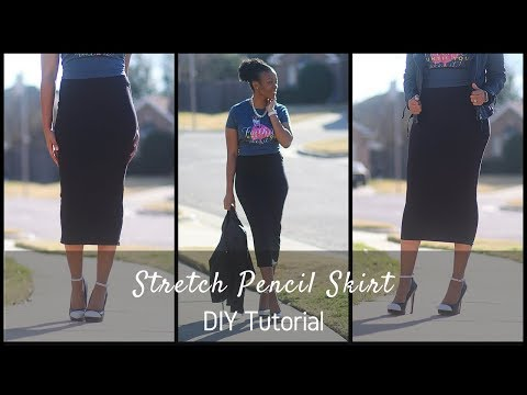 DIY Stretch Pencil Skirt Block with Flat Elastic Waistband Tutorial