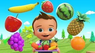 Learn Colors & Fruits Names  for Children with Little Baby Fun Play Cutting Fruits Toy Train 3D Kids thumbnail