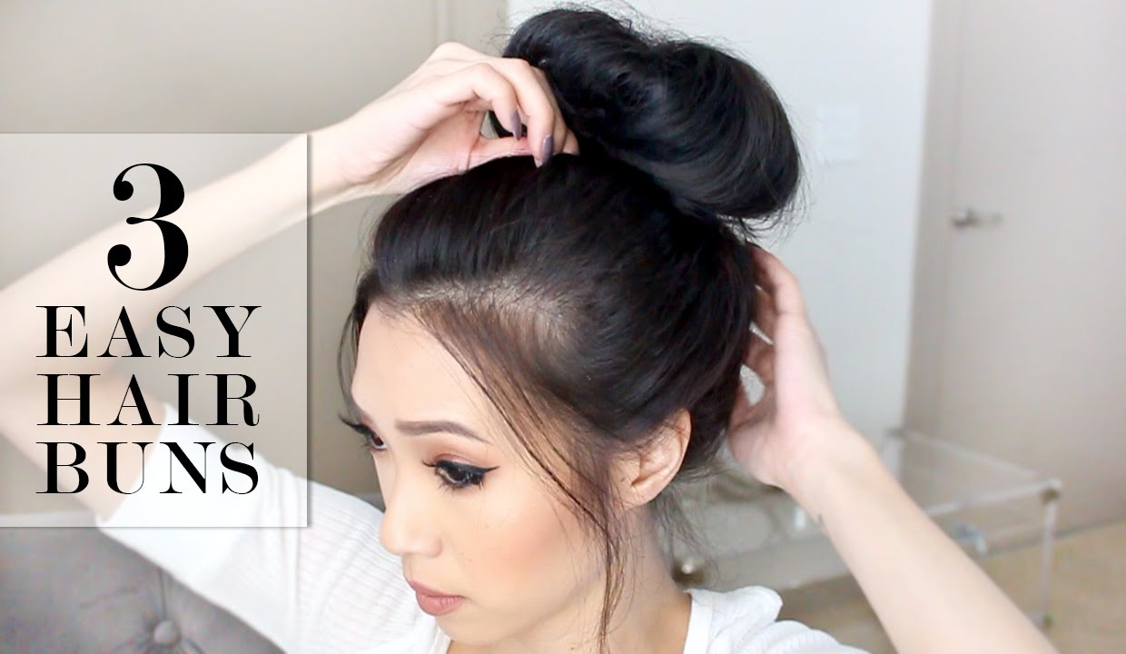 hair buns styles long hair 3 easy bun hairstyles lesassafras 7588 | maxresdefault
