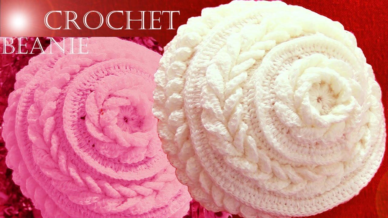 Gorro boina tejido en punto de flor con hojas dobles a Crochet o Ganchillo 063232d3b73