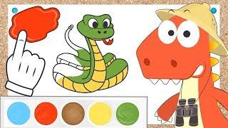 Aprende con Eddie como colorear reptiles 🐊 Eddie el dinosaurio colorea tortuga,serpiente y camaleón