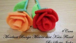 Video yang berisi tutorial cara membuat bunga mawar dari kain flanel dengan mudah (felt rose tutorial)