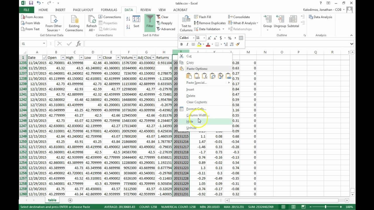 Estimate CAPM Beta in Excel