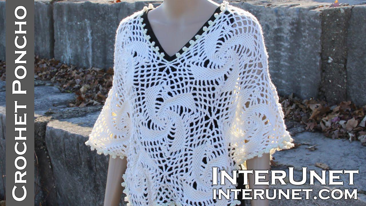 34f77fc0f6300 Crochet poncho - women s lace motifs top crochet pattern - YouTube