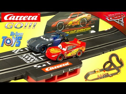 Carrera Go Cars 3 Slot Racing System Lightning McQueen Fast Not Last Jackson Storm Toy Review Kids