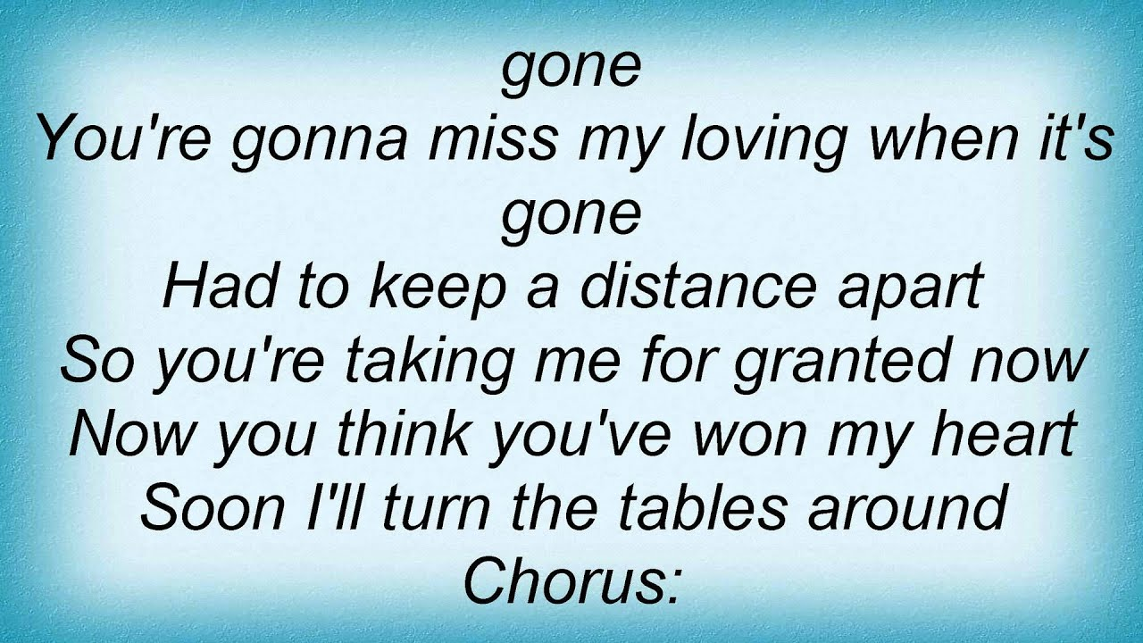 Meredith Brooks Youre Gonna Miss My Loving Lyrics Youtube