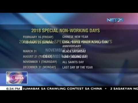 Holidays at special days sa 2018, isinapubliko na