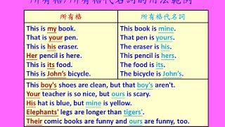 英文基礎文法 16 - 所有格代名詞用法(Basic English Grammar - Possessive & Possessive pronouns.)