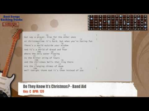 Do They Know It's Christmas? - Band Aid Guitar Backing Track With Chords And Lyrics