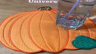 Kreative Kiwi Machine Embroidery In the Hoop ITH pumpkin placemat💕