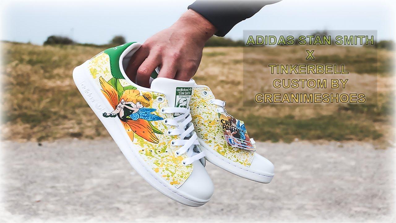 Adidas Stan Smith Tinkerbell Splash custom (peint à la main)