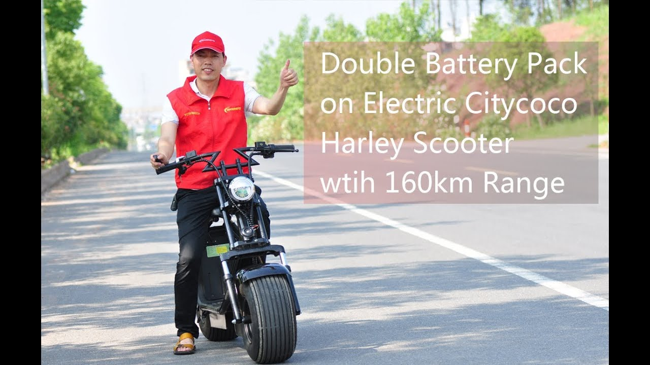 Double Battery Pack On Electric Citycoco Harley Scooter Wtih 160km