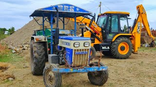 Swaraj 744 FE power plus tractor with fully loaded trolley Pulling   John Deere tractor power   CFV