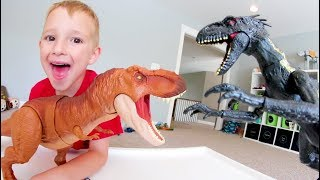 Father Son EPIC DINOSAUR BATTLE! / Don't Get Eaten!!!