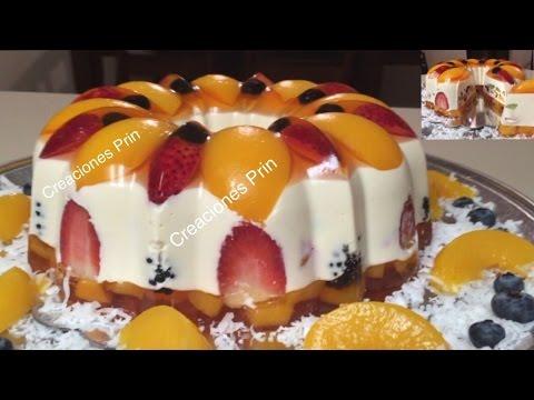 Gelatina de queso crema 3 leches rellena de frutas - Postres con frutas faciles ...