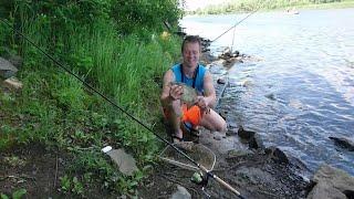 Летняя рыбалка на реке Десна. Порыбачили с мамой).
