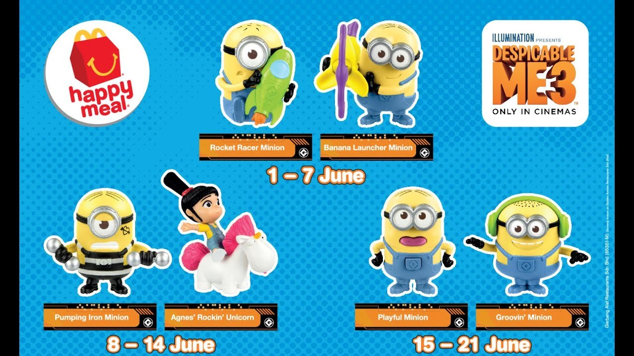 Future Malaysia Despicable Me 3 Mcdonalds Happy Meal Toys Predictions Tickets To Toy Time Youtube