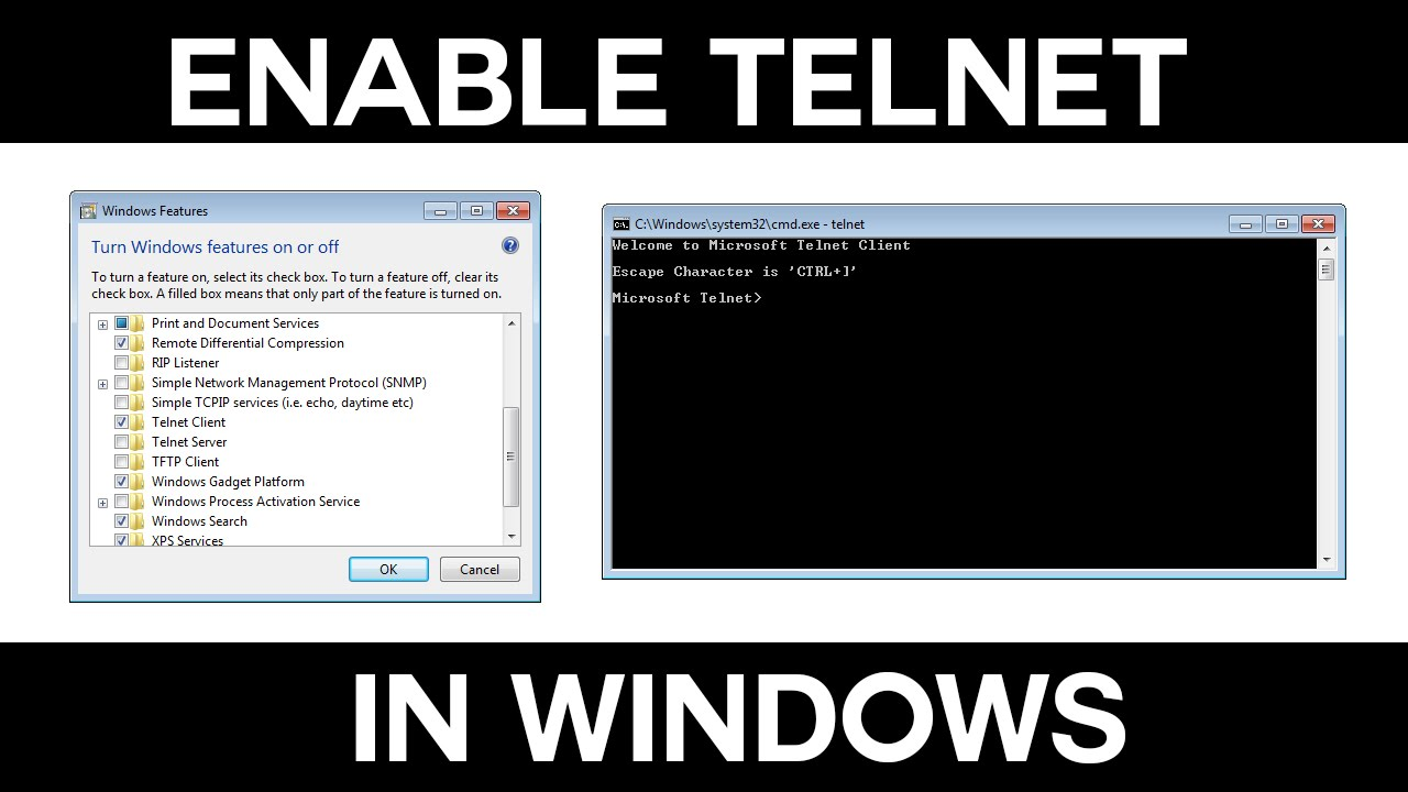 enable telnet client via cmd