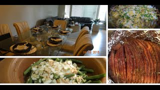 Ham In Cola, Cheesy Potatoes And Green Beans With Crispy Onion And Almonds