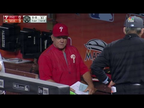 PHI@MIA: Bowa ejected after disputing a strikeout