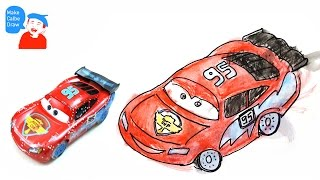 Lightning Mcqueen drawing for kids with Cars Disney Lightning Mcqueen car toys