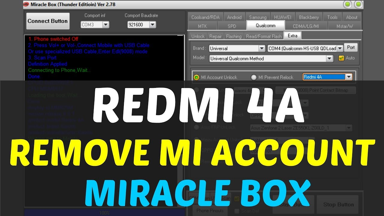 Redmi 4A (2016116) Mi Account Remove | EDL Mode | Miracle box