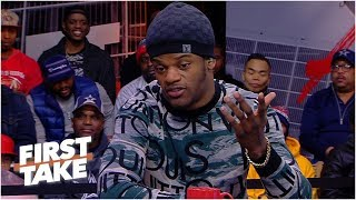 Baltimore Ravens QB Lamar Jackson joins First Take to discuss what went wrong in Baltimore's AFC playoff loss to the Los Angeles Chargers and shushes ...