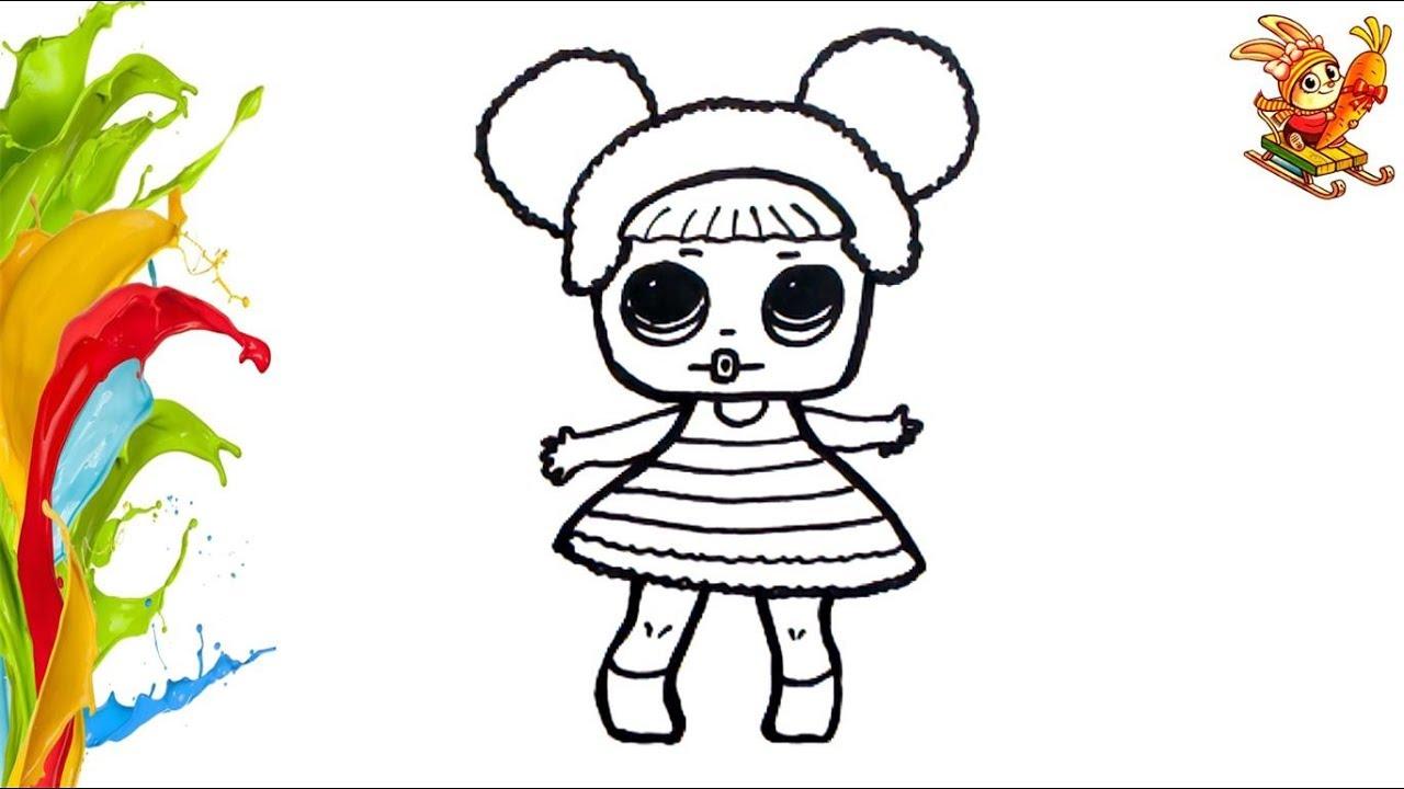 Раскраска для детей КУКЛА ЛОЛ. Coloring and drawing DOLL ...