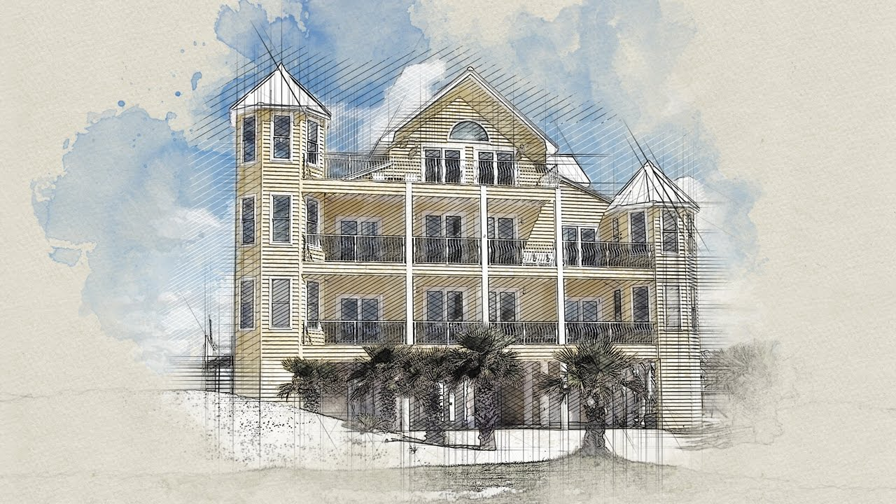 Architecture Sketch Photoshop Action - YouTube