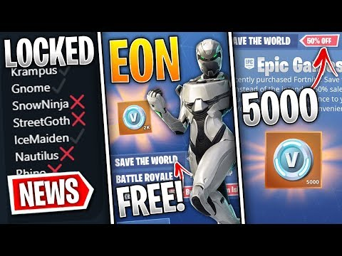 Fortnite News | Free STW w/ Eon, 5000 V-Bucks Compensation, Leaked Skins Remaining, Fixes & More!