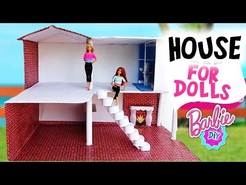 DIY How to make a HOUSE for Barbie dolls with cardboard|  Crafts for Dolls    ❤️👍