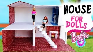 DIY How to make a HOUSE for Barbie dolls with cardboard //  Ideal for your daughters