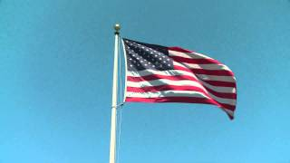 USA (United States Of America) flag blowing in the wind {HD}