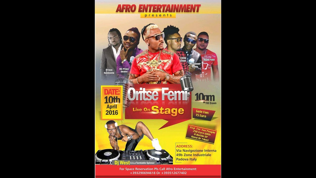 ORITSE FEMI LIVE ON STAGE IN PADOVA, ITALY
