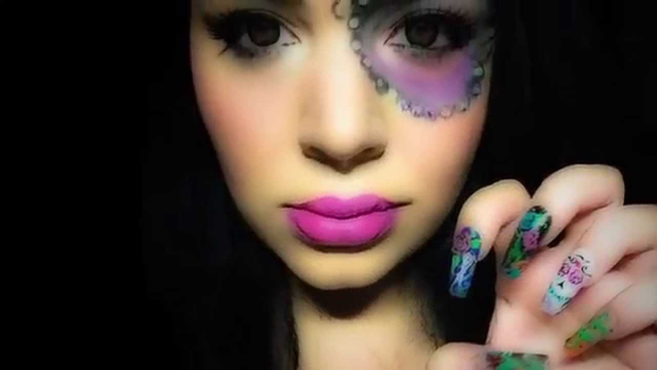 Catrina Nails - Halloween Nails - YouTube