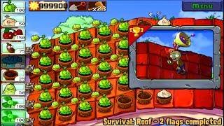 Plants vs Zombies | Cabbage vs Garlic vs Survival Roof