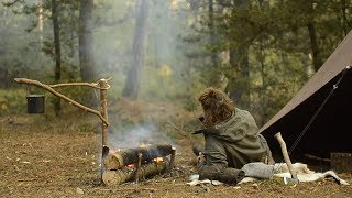 BUSHCRAFT TRIP - BELOW FREEZING, CANVAS TENT, SAMI FIRE, REINDEER SKIN, FINNISH AXE etc.