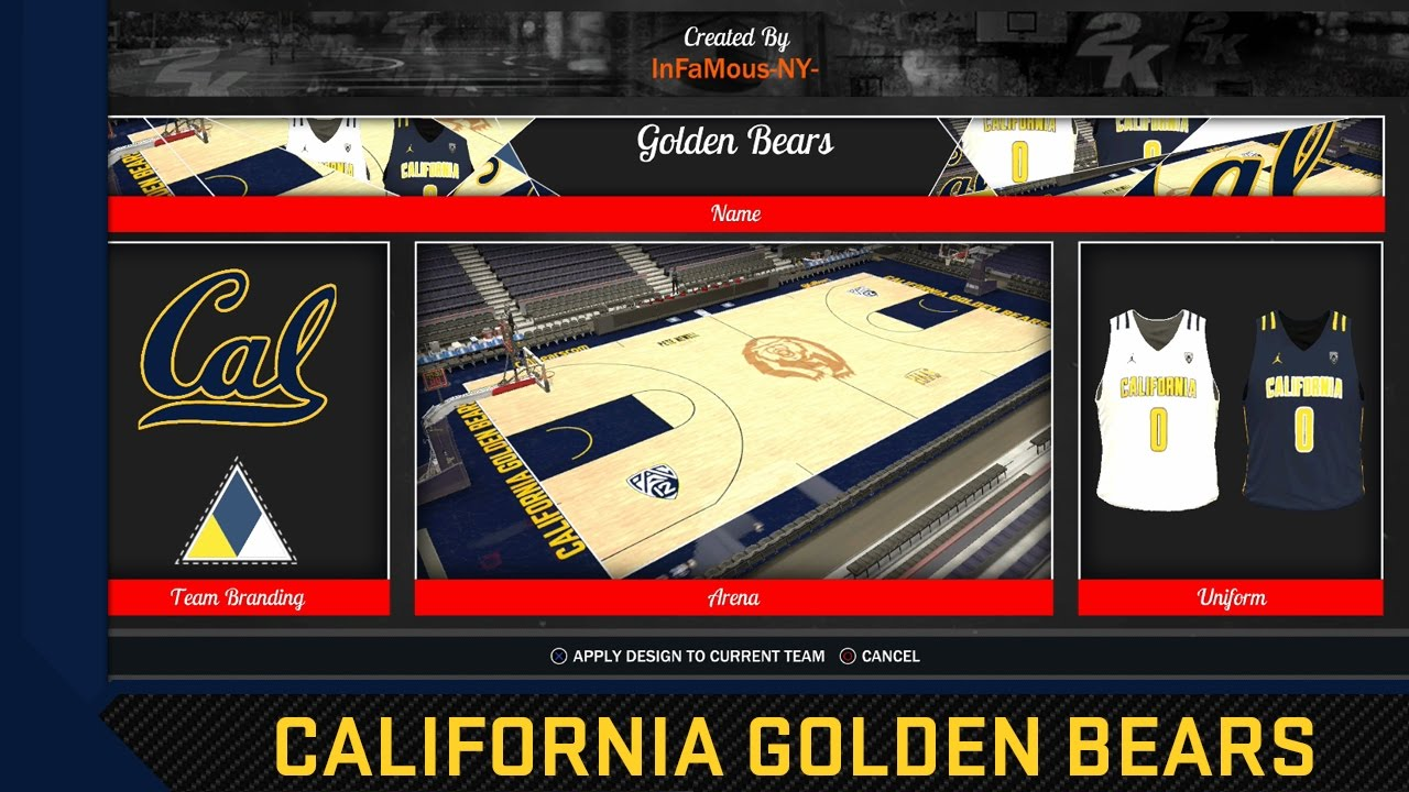 66c8f12269b NBA 2K17 2016-17 California Golden Bears Jersey & Court Tutorial ...