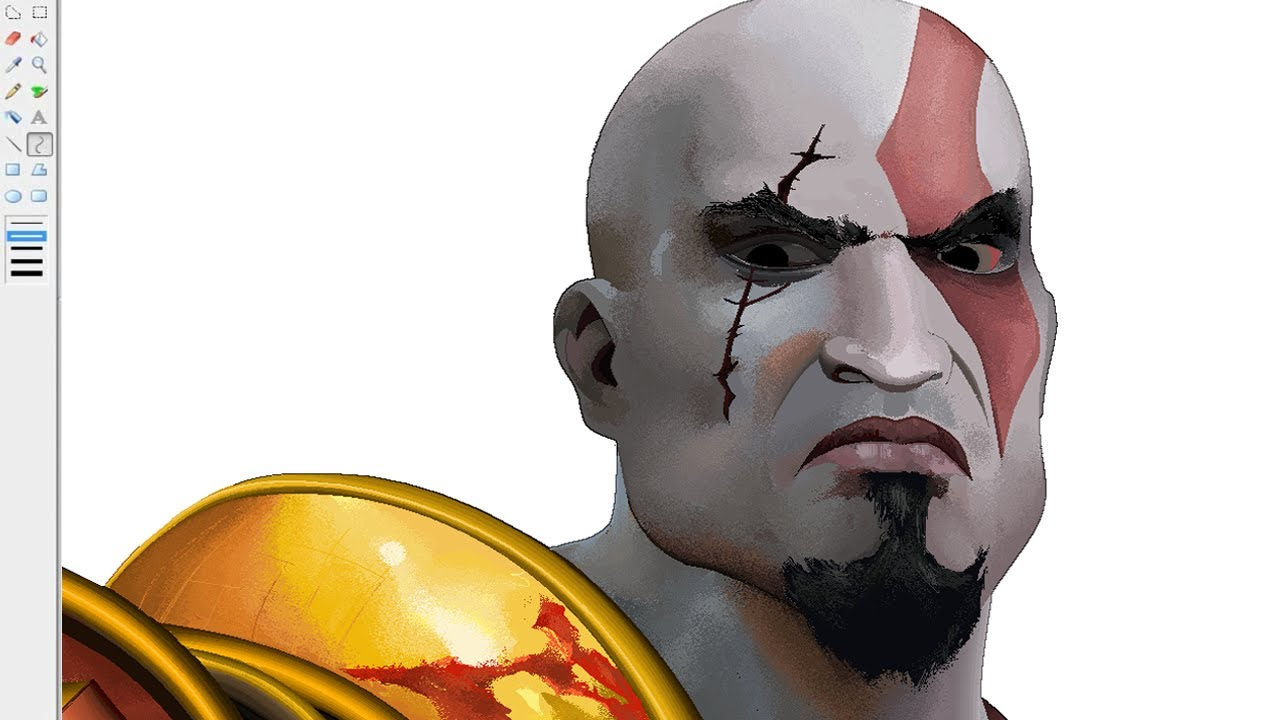 Dibujando a Kratos God of War  Drawing Kratos en Paint  YouTube