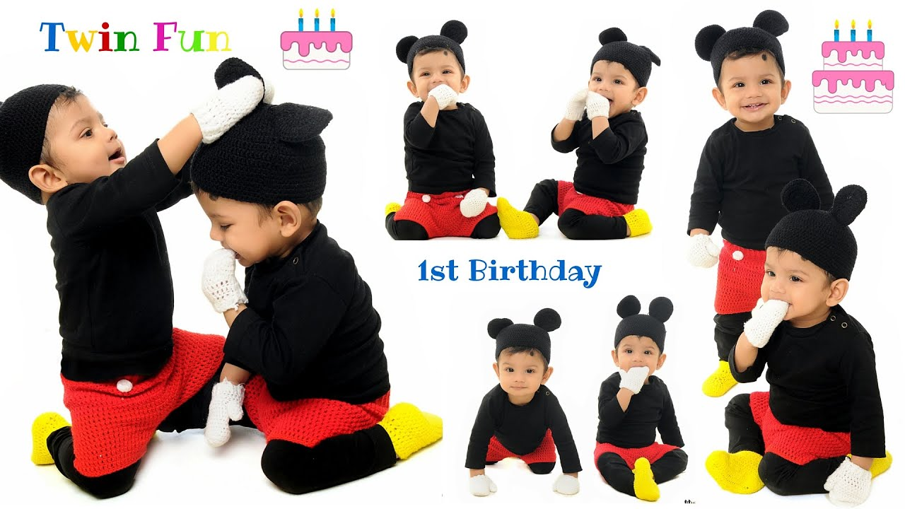 Identical Twin Babies/Boys First Birthday Photoshoot in Mickey Mouse Dress  sc 1 st  YouTube & Identical Twin Babies/Boys First Birthday Photoshoot in Mickey Mouse ...