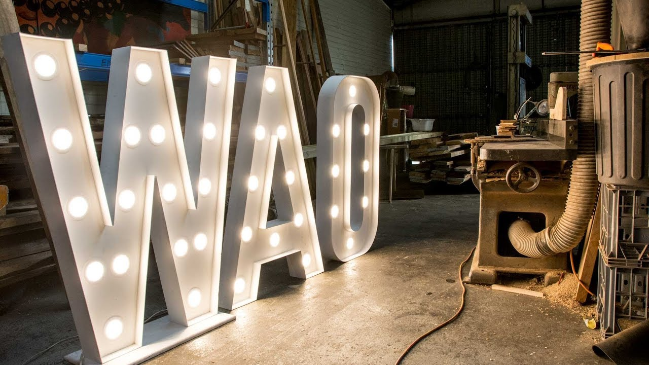 repairing giant light up letters a day in the shop