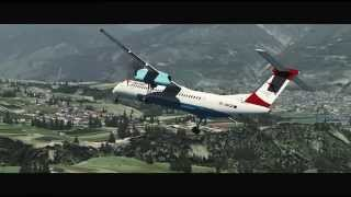 [FSX] Austrian Airlines Dash-8 Q400 landing in Innsbruck, Austria (LOWI)