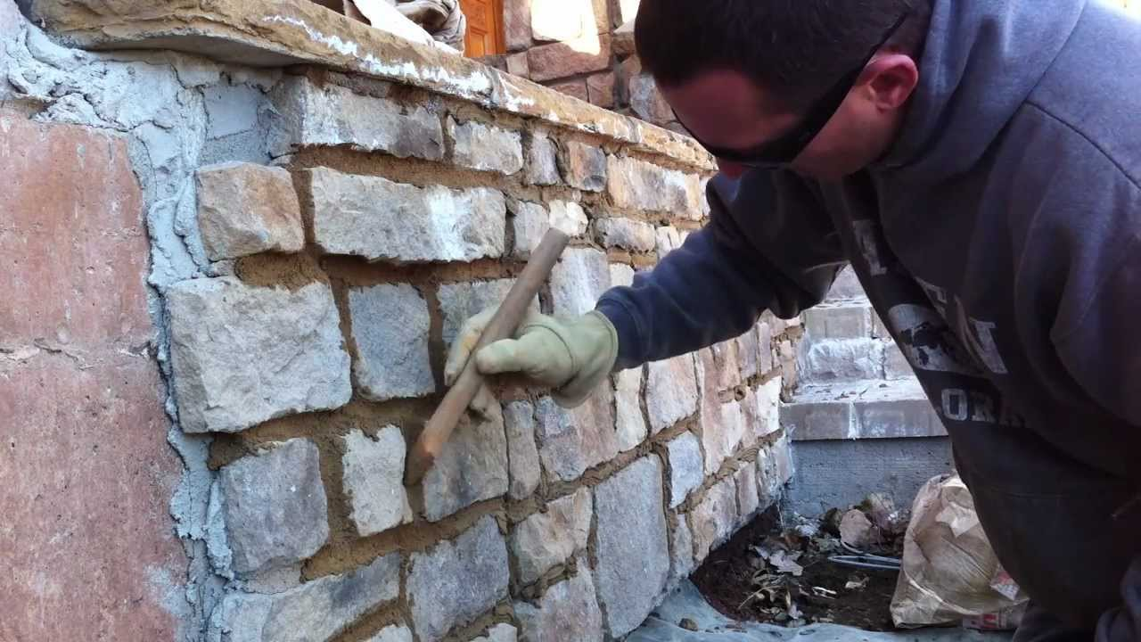 garage exterior ideas - How to use a grout bag Grouting veneer stone Part 2