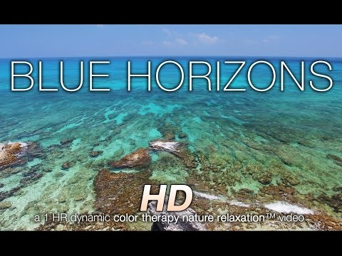 BLUE HORIZONS in 4K (nature sounds + music) Relaxation Video - Color Healing