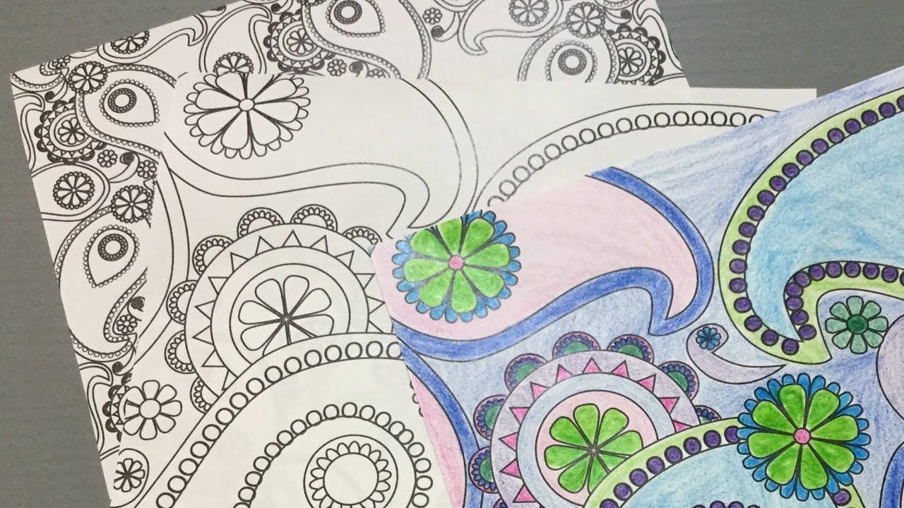 Line art by color your own : Color your own paisley origami paper youtube
