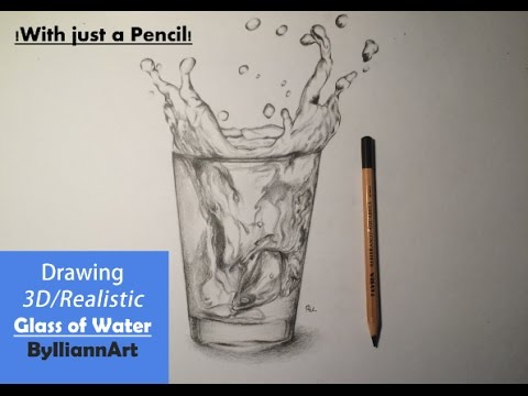 Drawing 3d glass of water with just a pencil easy tutorial