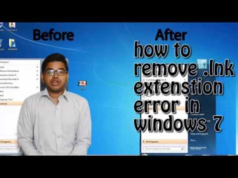 how to remove lnk extension error in windows 7