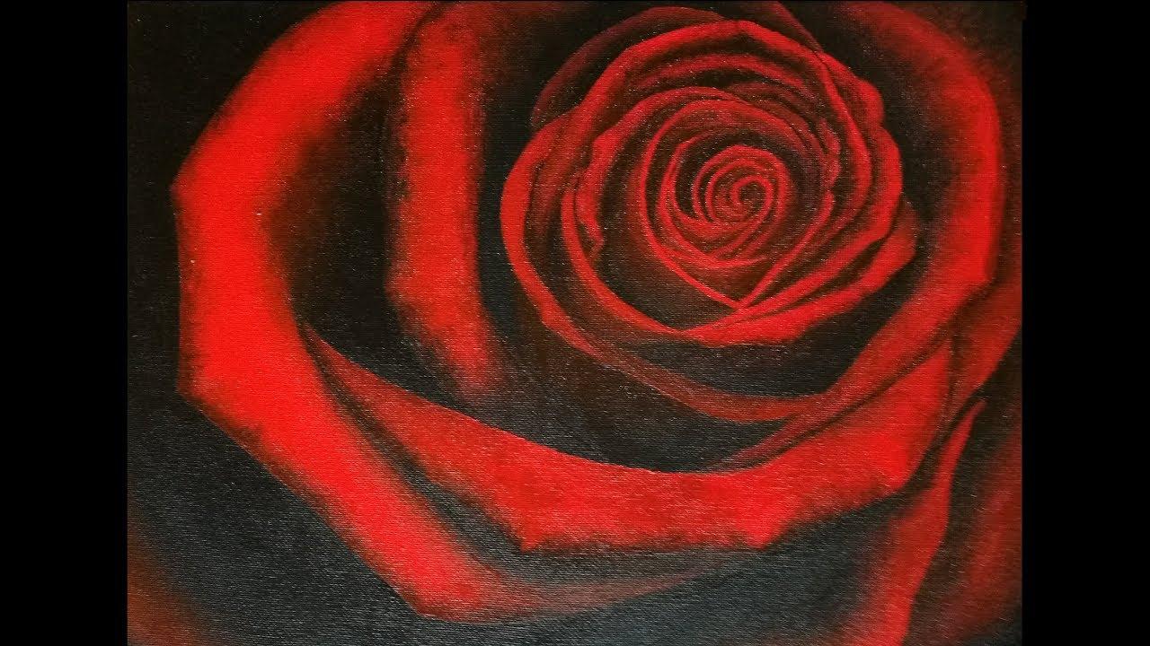 Rose Rouge Peinture Acrylique Youtube