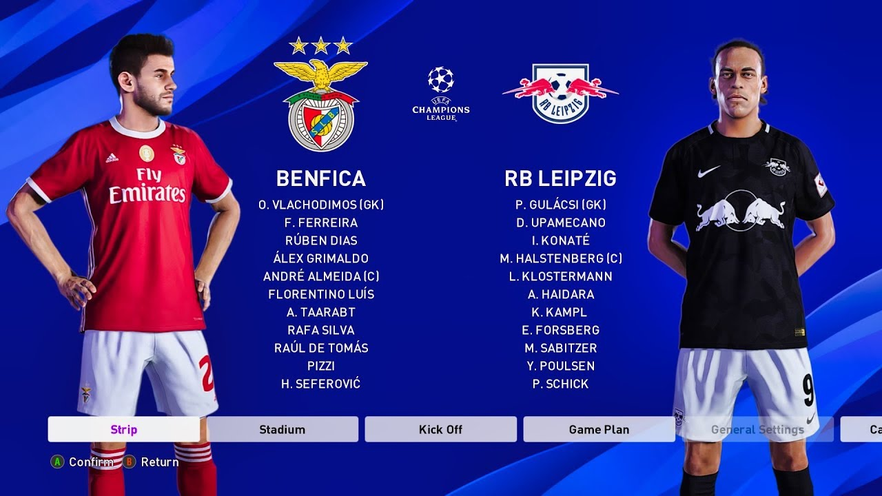 Pes 2020 Benfica Vs Rb Leipzig Champions League 2019 20 Youtube
